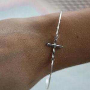 Cross Bangle Bracelet-Silver Sidewa..