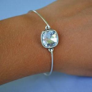 Big Rhinestone Bangle- Silver Bangl..