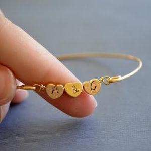 Personalized Triple Heart Bangle Br..