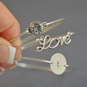 PERSONALIZED Sparkly Love Bangle Br..
