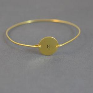 Gold Personalized Disc Bangle Brace..