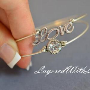 Sparkly Love Bangle Bracelet Set- S..