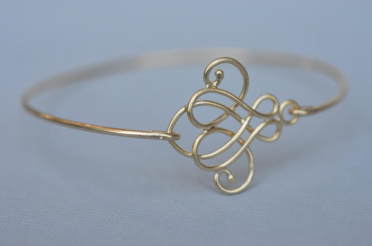 Cursive Gold Knot Bangle- Gold Bracelet- Geometric Bangle- Knot- Gold Jewelry- Bridesmaids Gifts- Minimalist Jewelry- Bangle