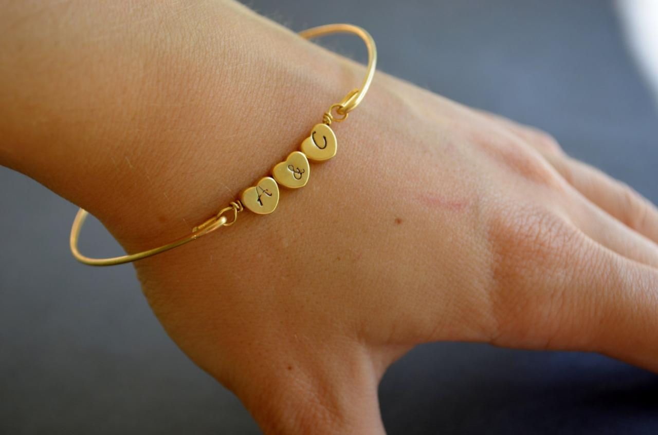 Personalized Triple Heart Bangle Bracelet-Gold Personalized Heart Bangle- Initial Jewelry- Minimalist Jewelry- Bridesmaids Gifts