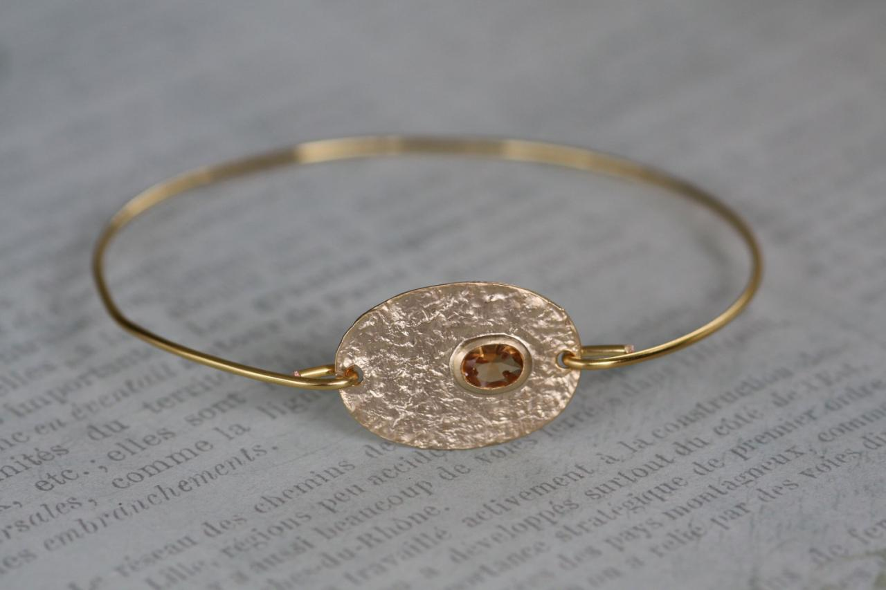 Gold Gem Oval Bangle Bracelet