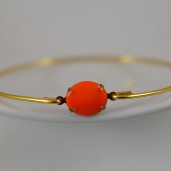 Opaque Orange Vintage Glass Bangle Bracelet- Gold Bangle Bracelet- Stone Bangle- Bridesmaids Gifts- Casual Wear- Minimalist