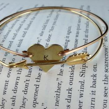 Gold Heart and Arrow Bangle Bracelet-Arrow Jewelry- Arrow Bangle- Gold Bangle- Intial Bangle- Stamped Jewelry