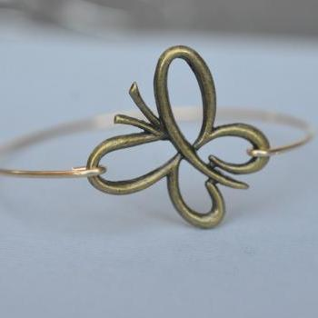 Butterfly Brass Bangle Bracelet- Bronze Bangle- Vintage Gold Bangle- Bridesmaids Gift Ideas- Casual Wear- Minimalist- Wire Bangle- Filigree