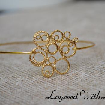 Rhinestone Bangle- Gold Bangle Jewelry- Geometric Gold Bangle- Bridesmaids Gift Ideas- Casual Wear- Minimalist- Wire Bangle- Filigree