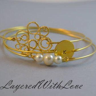 Joy Bangle Bracelet Set- Bubble Charm- Personalized Initial Disc- Stamped Disc- Bangle- Gold Bangle Set-Pearl Bangle- Bridesmaids Gift