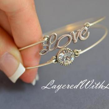 Sparkly Love Bangle Bracelet Set- Silver Love Charm Jewelry- Crystal Rhinestone- Bridesmaids Gifts- Minimalist Jewelry