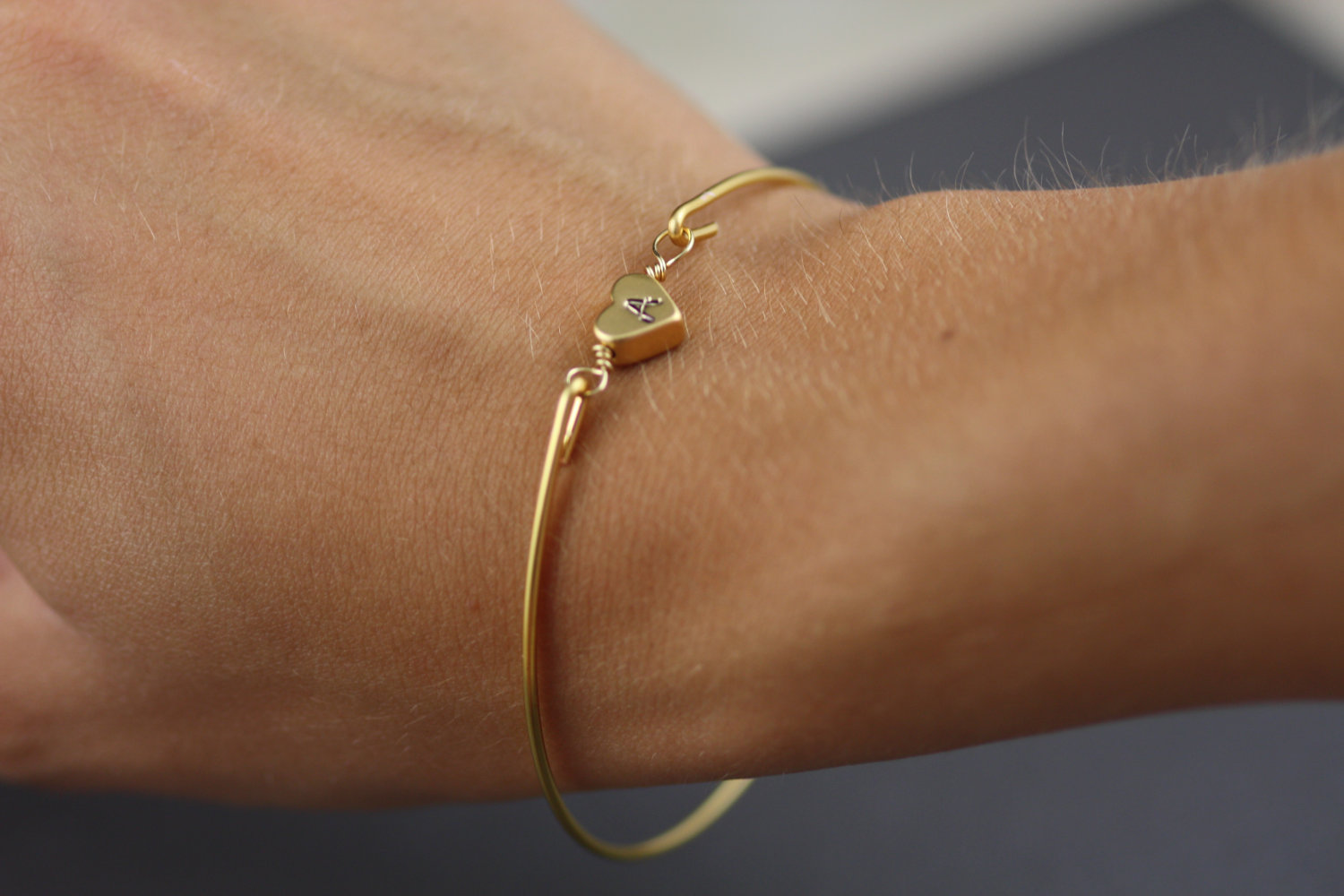 Gold Heart Bangle Bracelet-Simply Gold Personalized Heart Bangle Bracelet-  Initial Jewelry- Minimali on Luulla d0da77be2